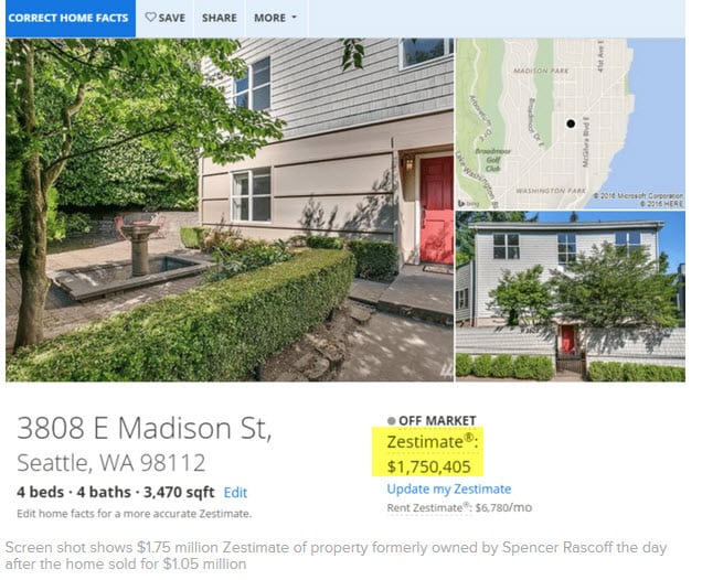 Zillow CEO's Own Home sells for 40% less than Zestimate!